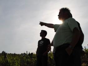 A l'invitation de l'Interprofession des vins de Cahors, plusieurs vignerons et étudiants de l'ESC Dijon sont venus d'écouvrir le domaine de Claude et Lydia Bourguignon, situé sur les hauteurs de Laroques-des-Arcs (Crédit : Johan Gesrel).